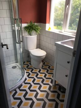 Customer photo testimonial of our Hoxton patterned vinyl flooring from a customer review of forthefloorandmore.com