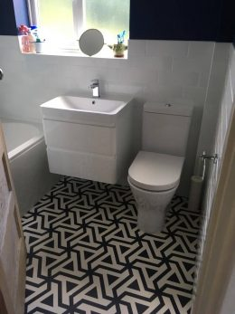 Customer photo testimonial of our Prestwich patterned vinyl flooring from a customer review of forthefloorandmore.com