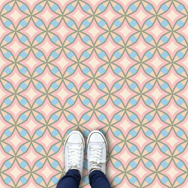 Image of Calleja cuban inspired pattern printed geometric flooring exclusively from forthefloorandmore.com