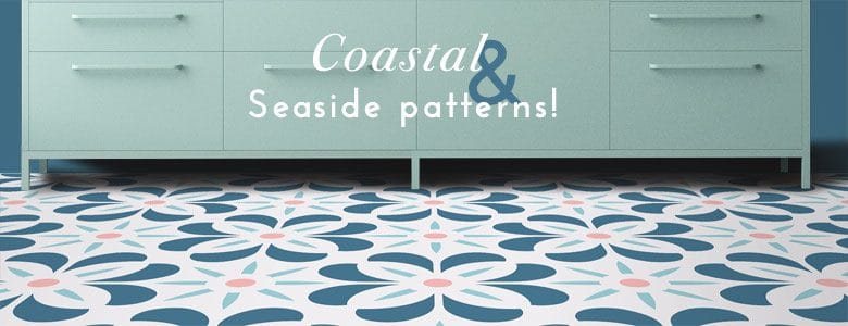 Seaside and coastal patterns - in flooring, in Feature Tiles, in splashbacks. All from For the Floor & More.