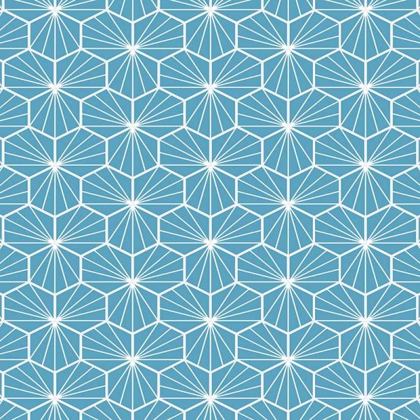 Image of Jovian Blue pattern printed geometric flooring exclusively from forthefloorandmore.com