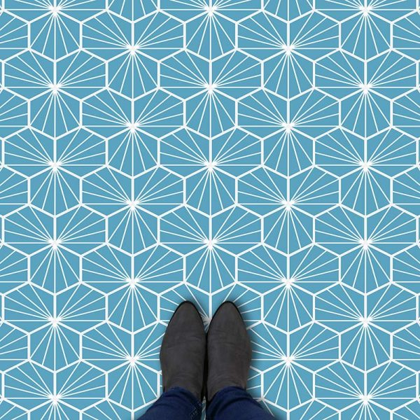 Image of Jovian Blue geometric flooring exclusively from forthefloorandmore.com