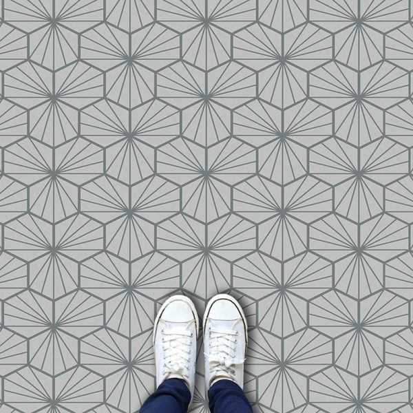 Image of Jovian Grey geometric flooring exclusively from forthefloorandmore.com