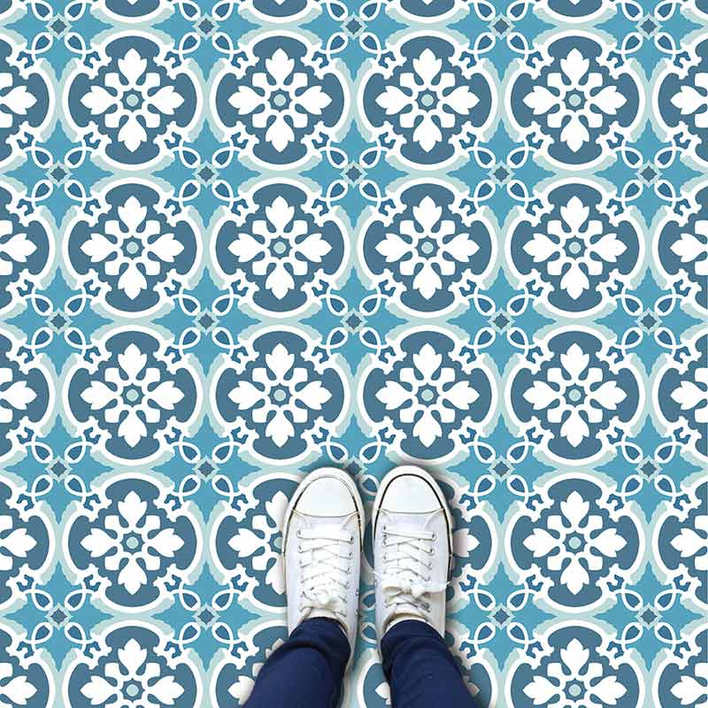 Verna pattern printed geometric flooring exclusively from forthefloorandmore.com
