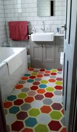 Customer photo testimonial of our Dials patterned vinyl flooring from a customer review of forthefloorandmore.com
