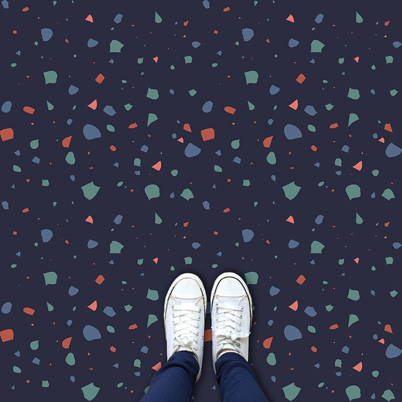 Image of Amaia terrazzo style italian tile vinyl flooring, tiles and glass splashback design by forthefloorandmore.com