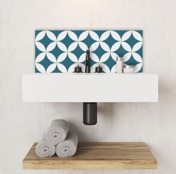 Image of Linn cuban inspired pattern printed geometric design Feature Tile exclusively from forthefloorandmore.com