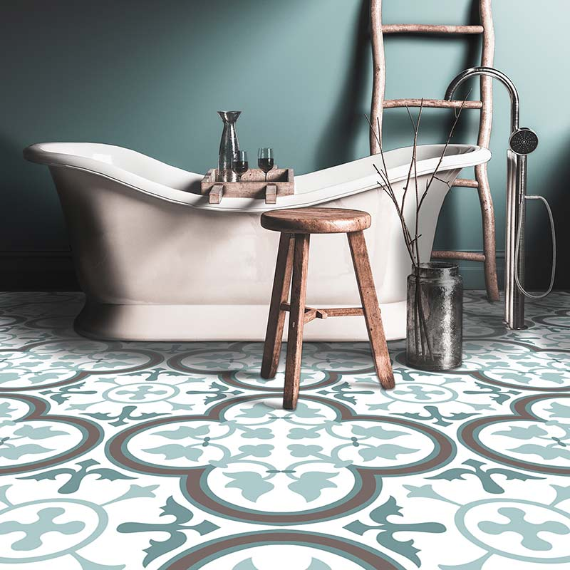 Image showing our Katie Victorian imitation tile vinyl flooring