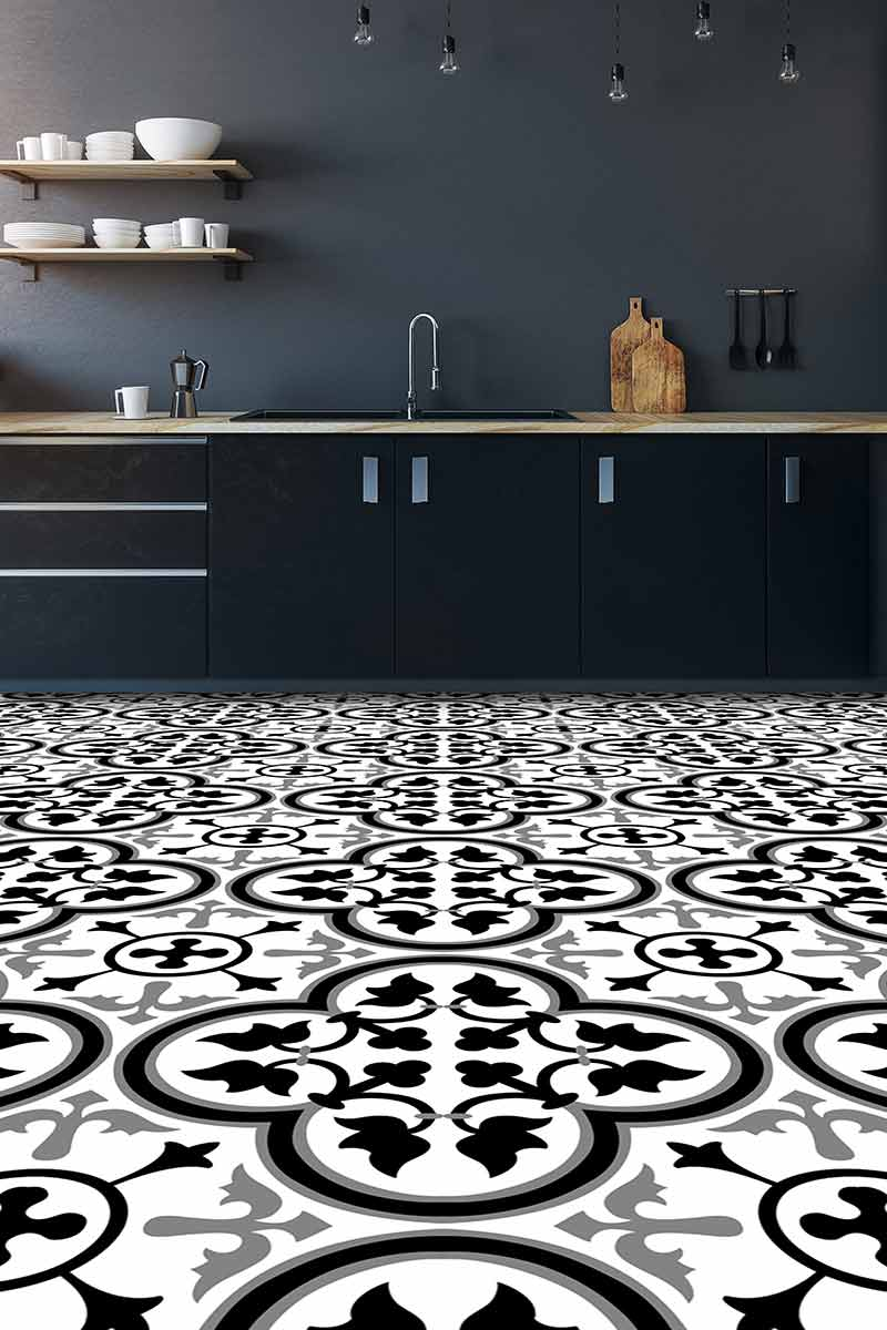 Image showing our Katie Victorian imitation tile vinyl flooring in a modern kitchen