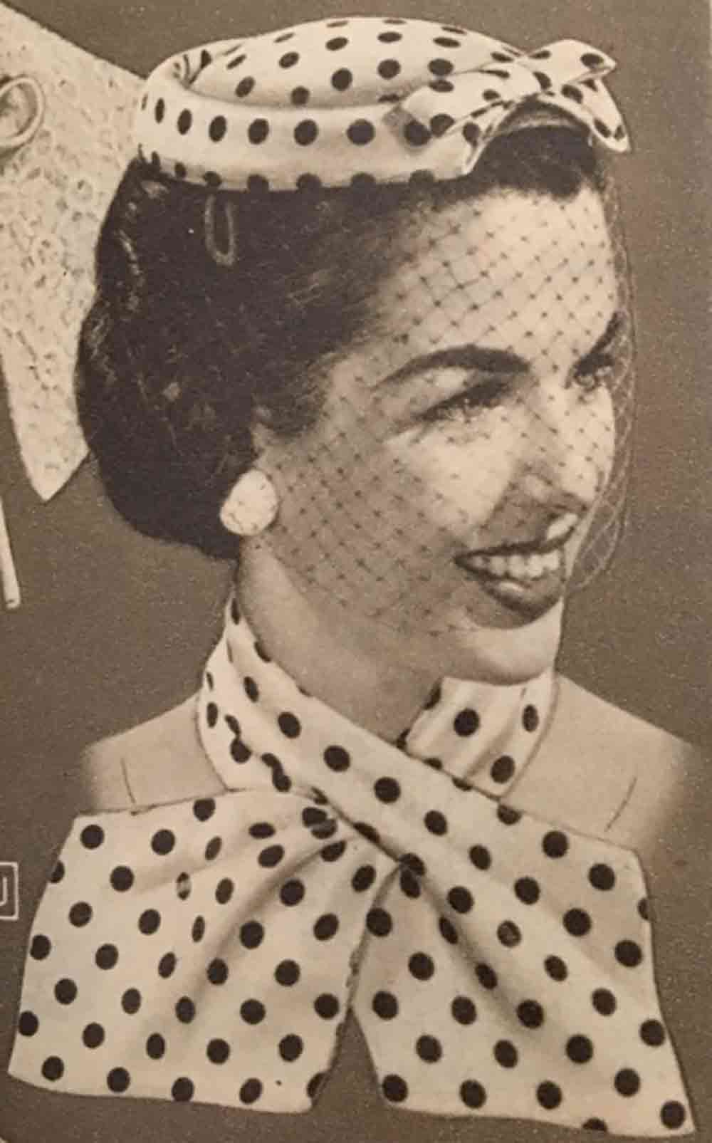 Image of a 1940s Polka Dot hat and scarf used in a blog post about Polka Dot flooring by forthefloorandmore.com