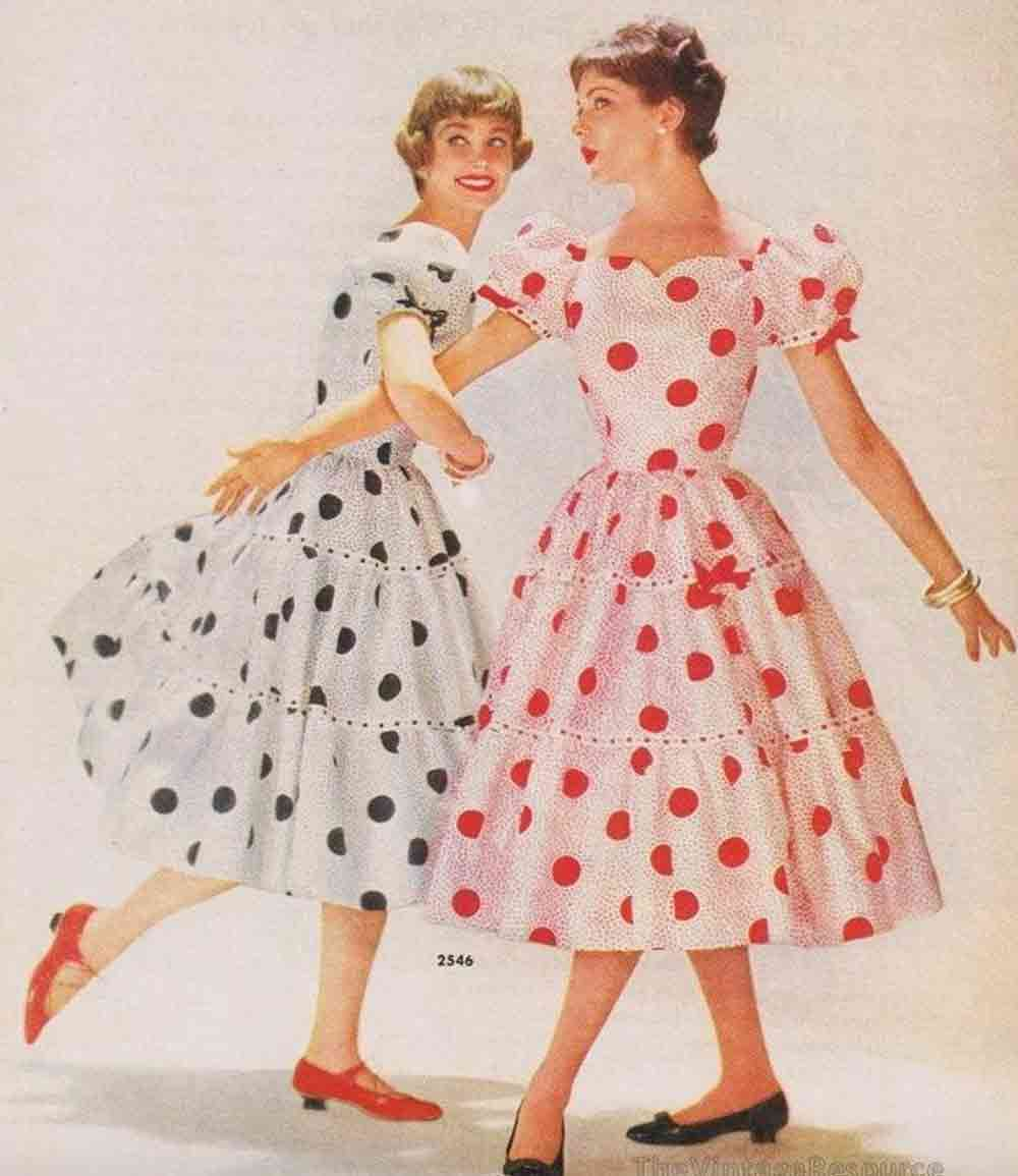 Image of a Polka dress wearing pair from Pinterest and used in a blog post about Polka Dot flooring by forthefloorandmore.com