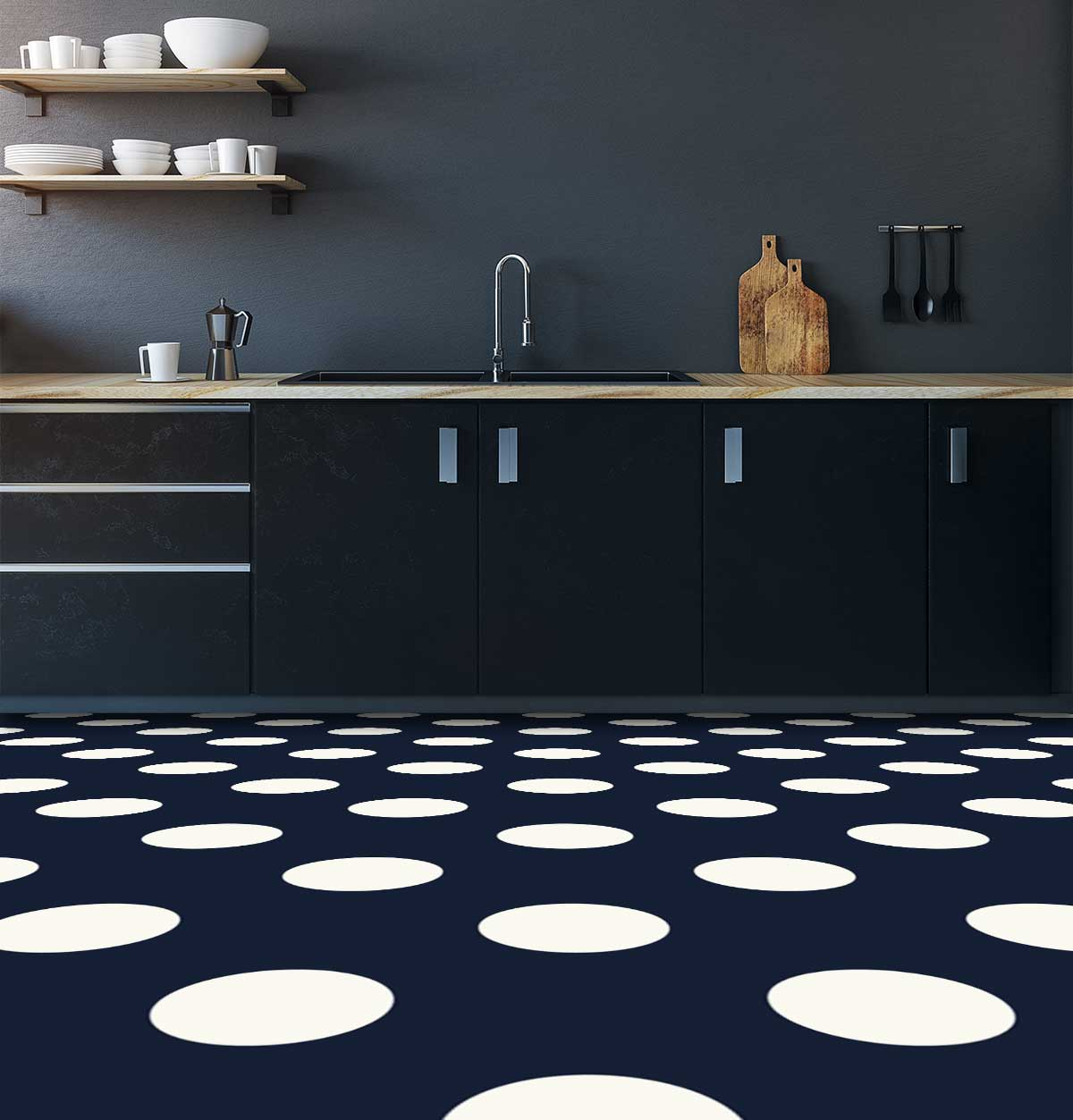 Image showing a kitchen with blue and white Polka Dot flooring used in a blog post about Polka Dot floor tiles from forthefloorandmore.com