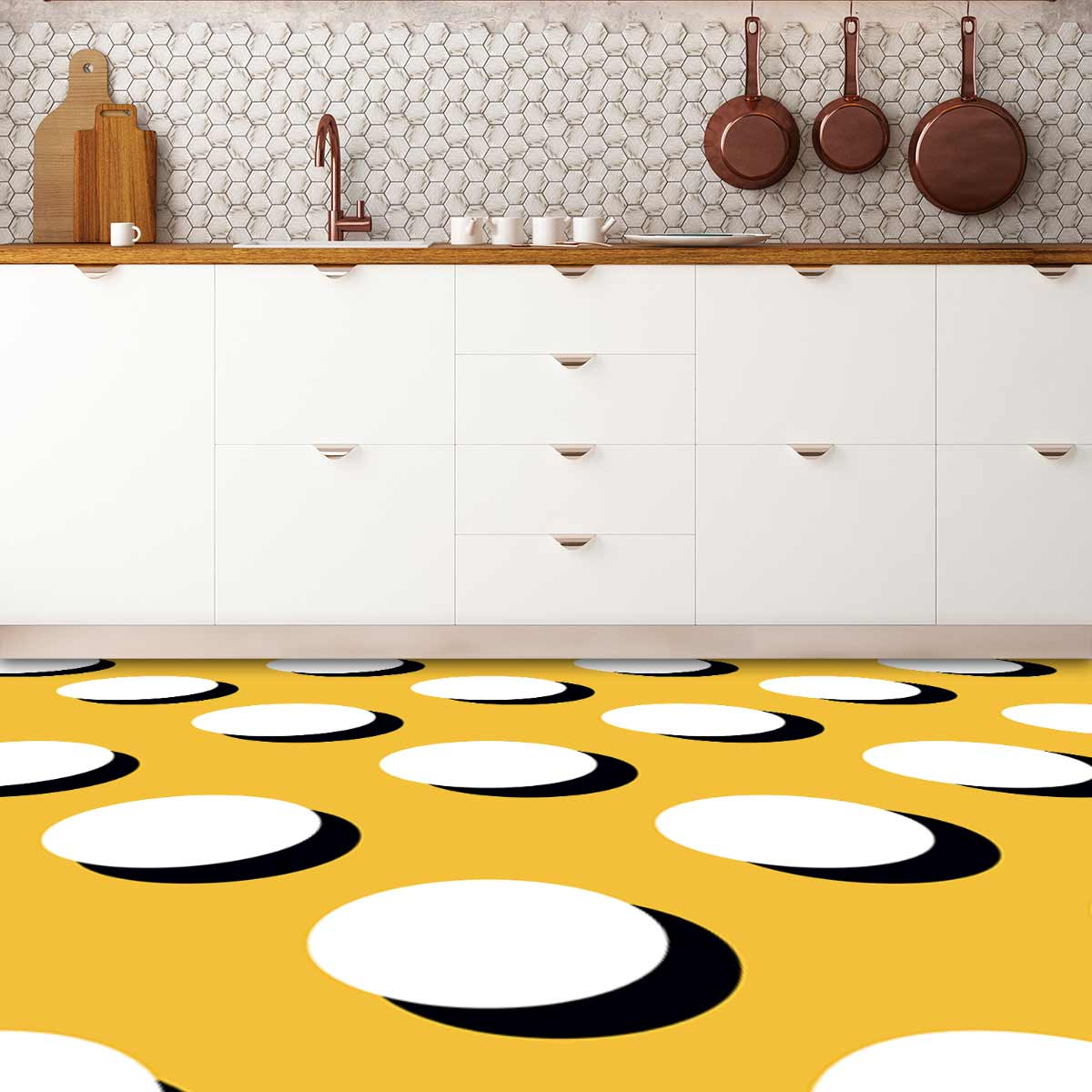 Image showing a kitchen with Polka Dot flooring used in a blog post about Polka Dot floor tiles from forthefloorandmore.com