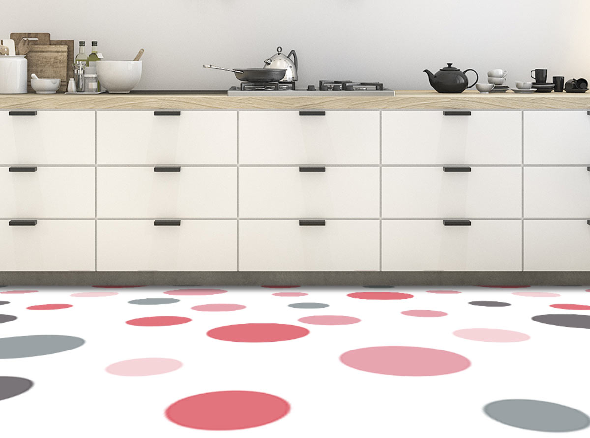 Image showing a kitchen with pink and white dotsPolka Dot flooring used in a blog post about Polka Dot floor tiles from forthefloorandmore.com