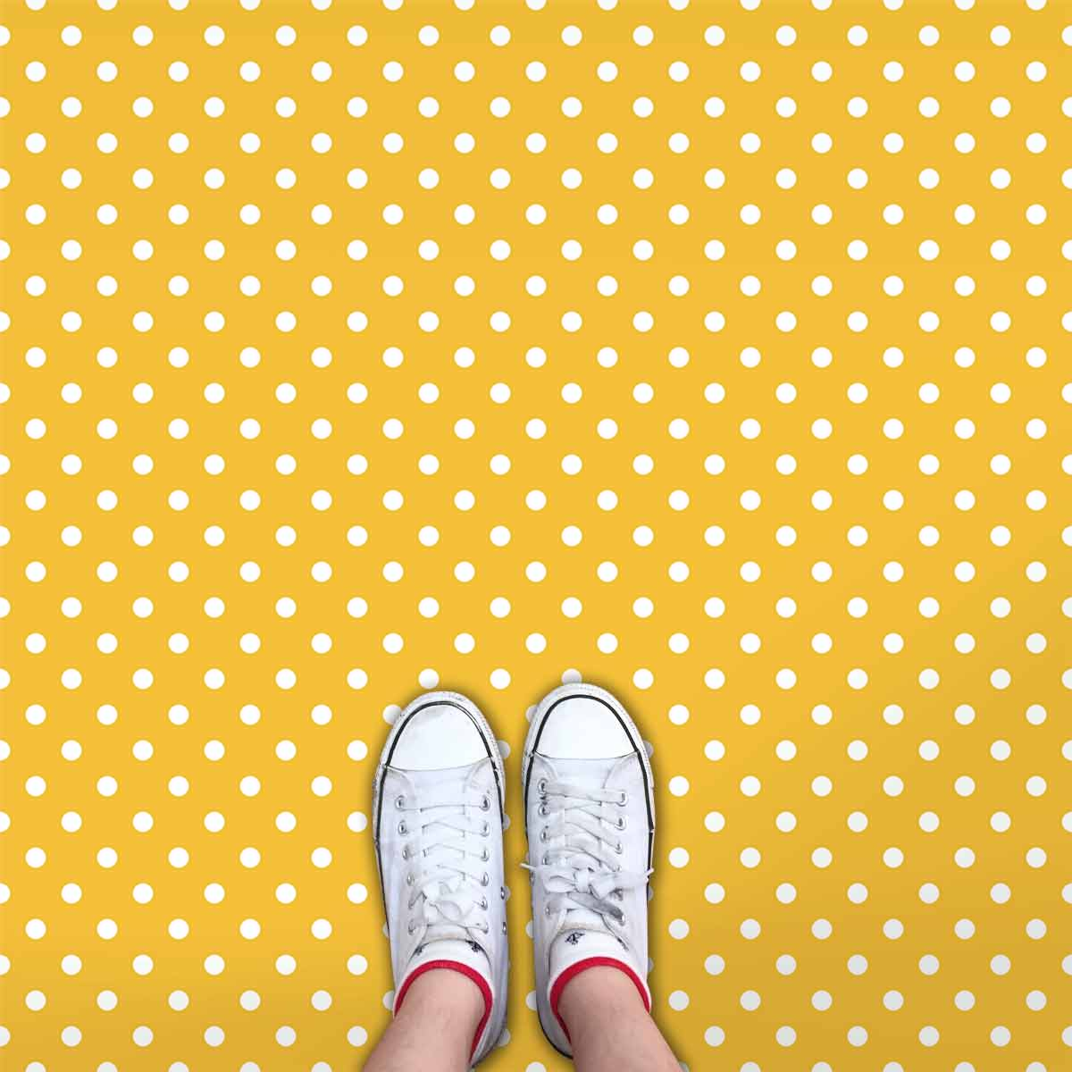 Image showing a yellow and white Polka Dot flooring used in a blog post about Polka Dot floor tiles from forthefloorandmore.com
