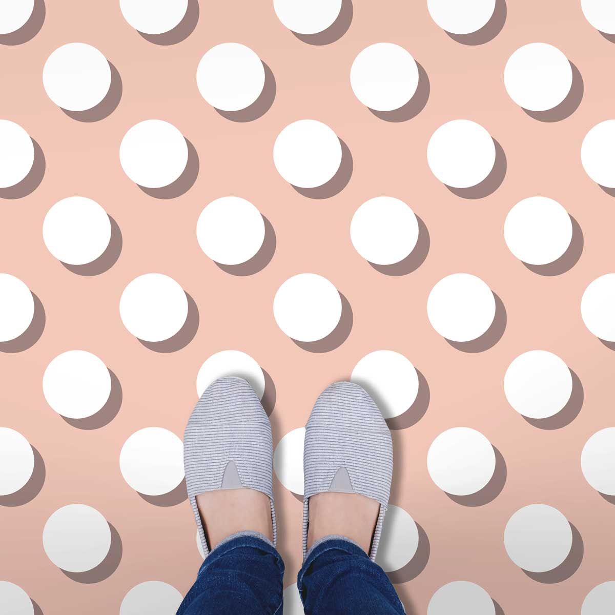 Image of a pink and white Polka Dot flooring used in a blog post about Polka Dot floor tiles from forthefloorandmore.com