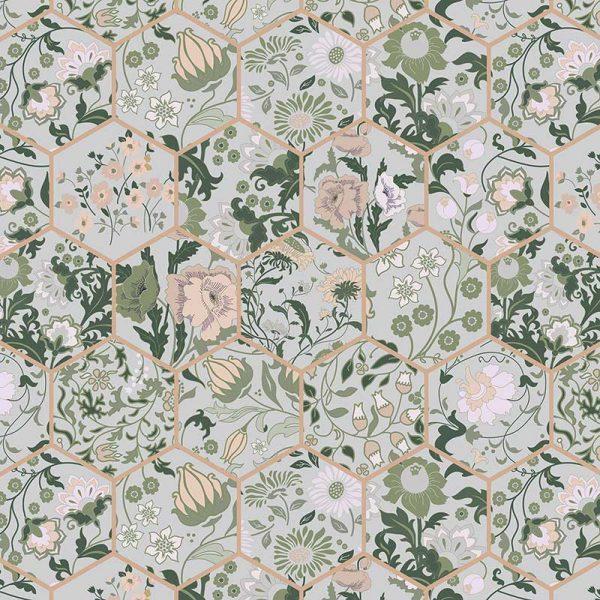 Kassia pattern printed floral design vinyl flooring exclusively from forthefloorandmore.com