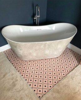 Customer photo of Venetian Pink pattern flooring from forthefloorandmore.com