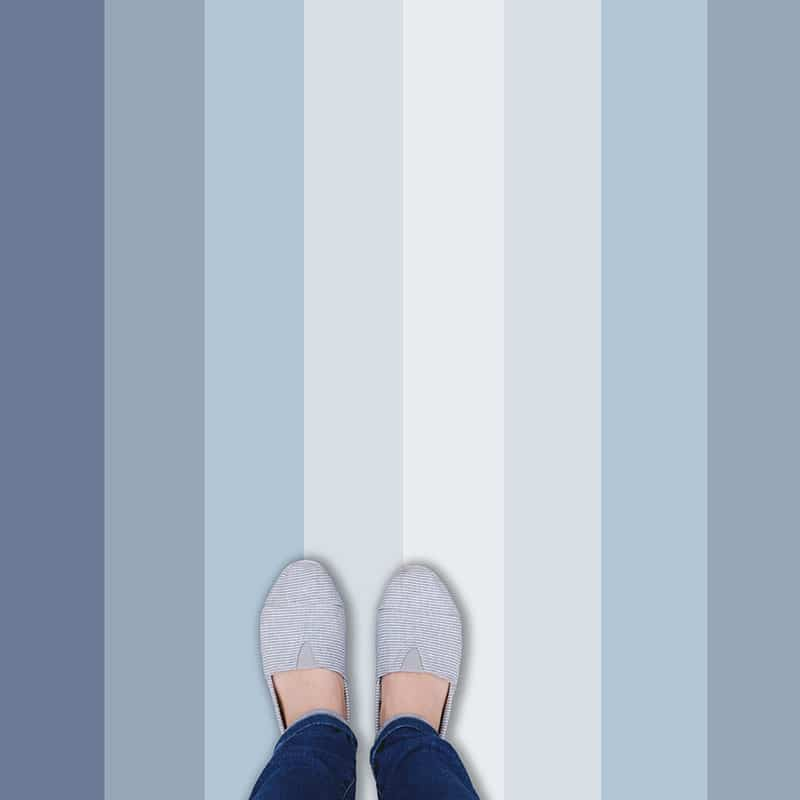 Multicoloured blue striped vinyl flooring from forthefloorandmore.com