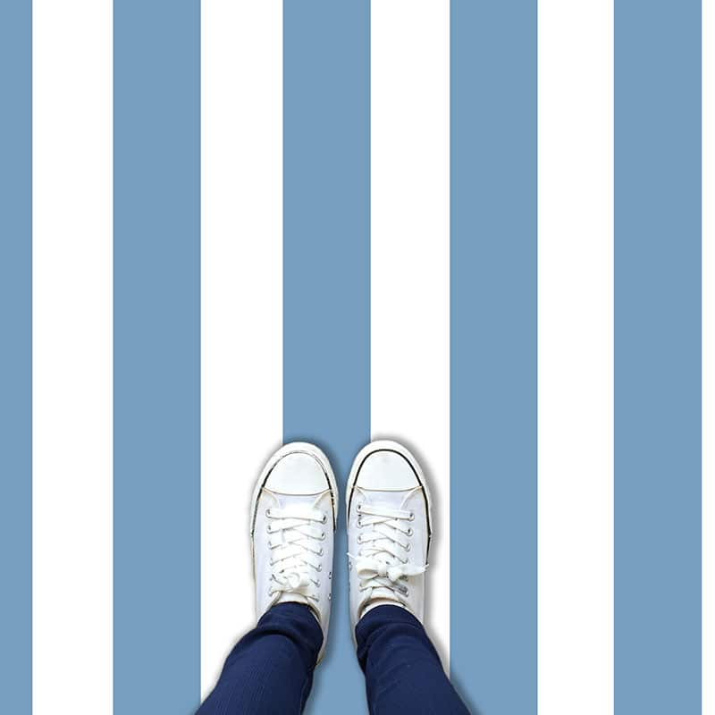 Coastal blue striped vinyl flooring from forthefloorandmore.com