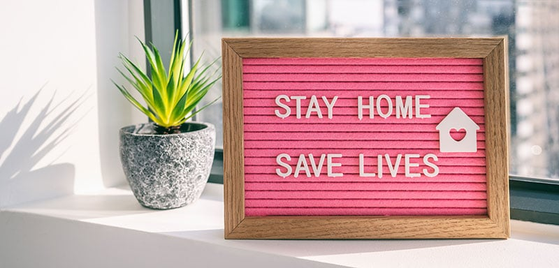 stay home and save lives - custom social distancing floor markings and floor coverings from forthefloorandmore.com