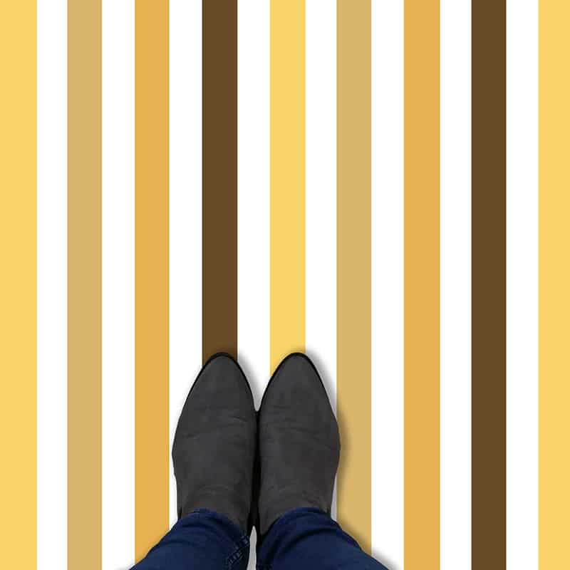 Multicoloured yellow striped vinyl flooring from forthefloorandmore.com