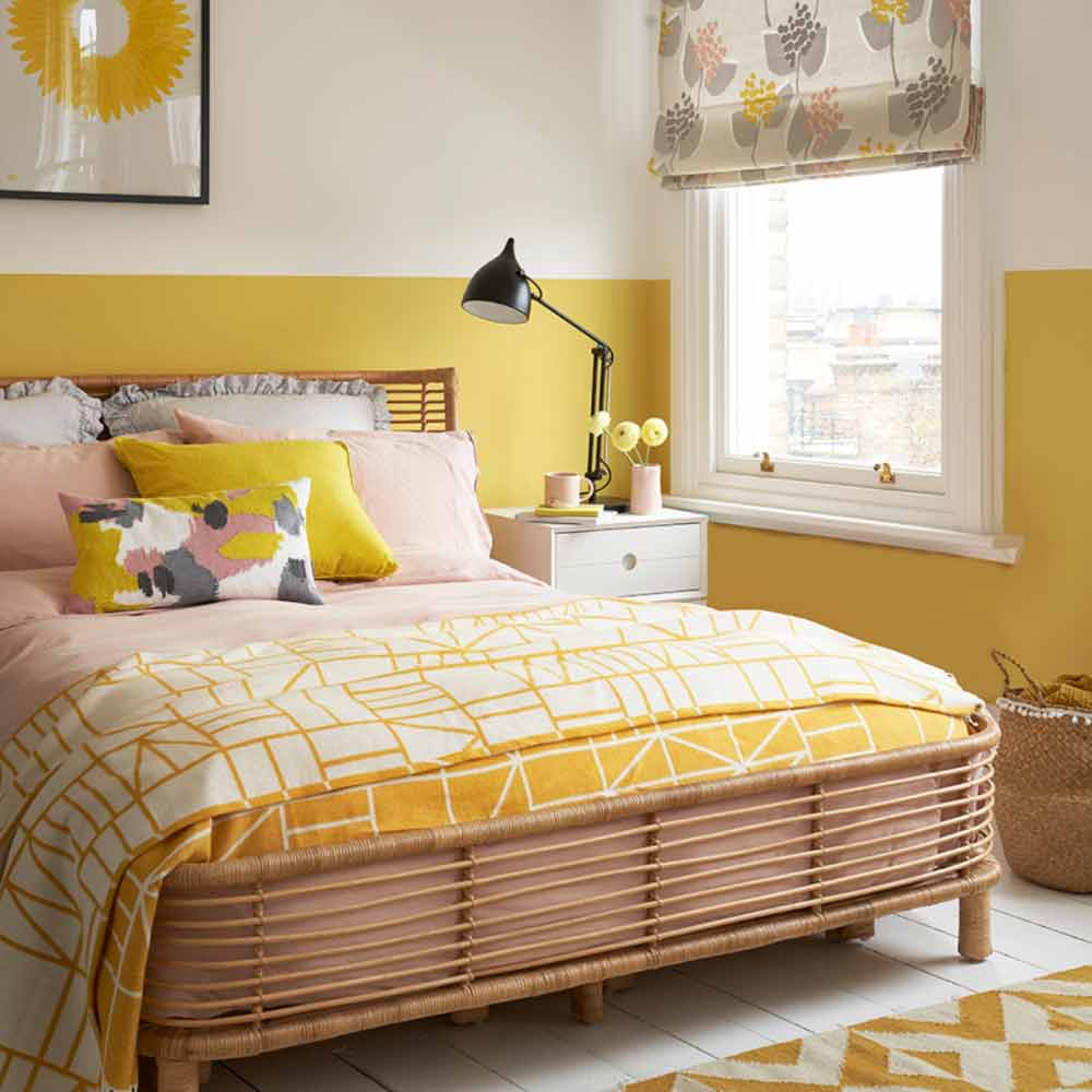 Image of summery yellow home decor used in a blog post about summer home decor ideas from For the Floor & More