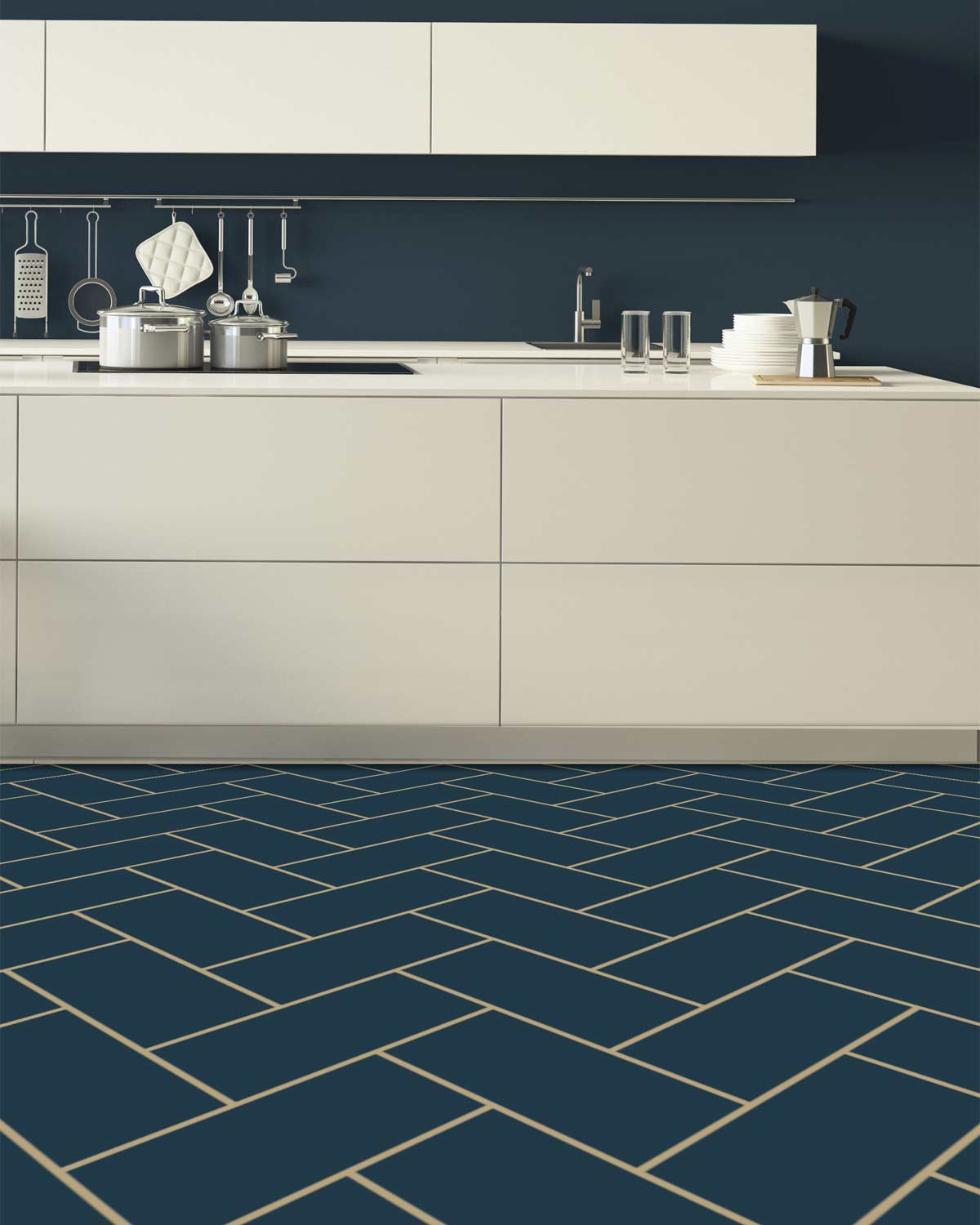 Image of a bespoke deep blue herringbone vinyl flooring shown in a modern kitchen only available from forthefloorandmore.com