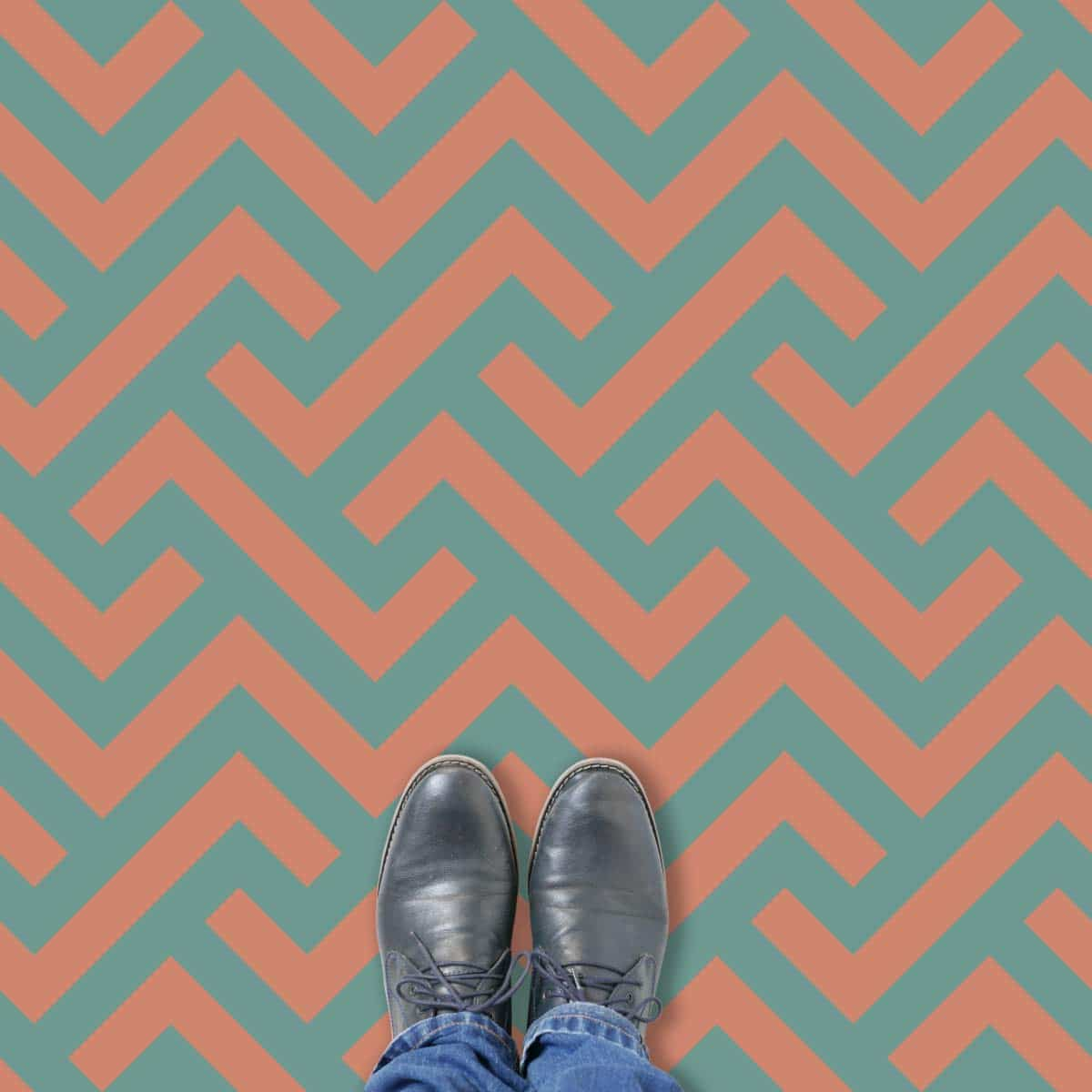 Vestra Two tone parquet style pattern printed geometric design vinyl flooring exclusively from forthefloorandmore.com