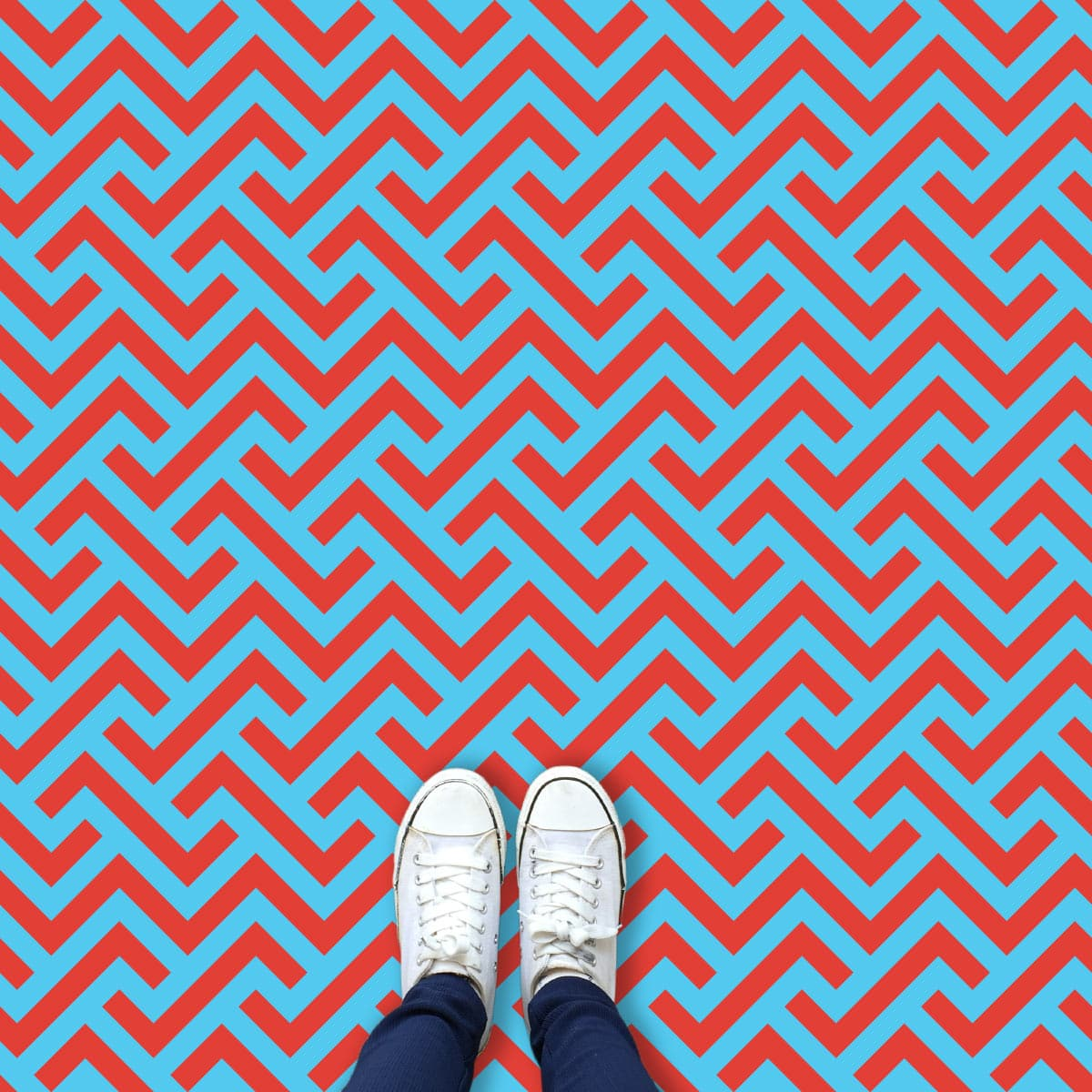 Vestra in Red parquet style pattern printed geometric design vinyl flooring exclusively from forthefloorandmore.com