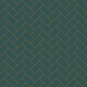 Image of a bespoke deep green herringbone vinyl flooring only available from forthefloorandmore.com