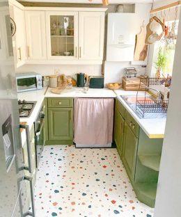 Customer photo of a custom Noemi terrazzo pattern flooring from forthefloorandmore.com