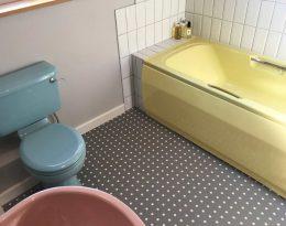 Customer photo of a custom Polka dot pattern flooring from forthefloorandmore.com